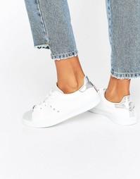 Белые кроссовки на шнуровке с отделкой металлик Blink - Белый