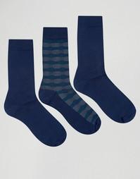 3 пары темно-синих хлопковых носков Ciao Italy - Темно-синий