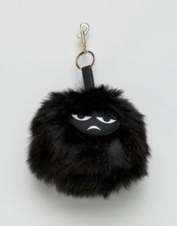 Кольцо для ключей с мордочкой на помпоне Monki - Черный