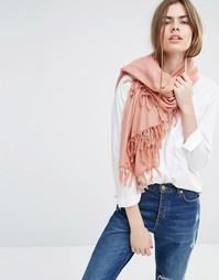 Oversize-шарф с кисточками Becksondergaard - Розовый