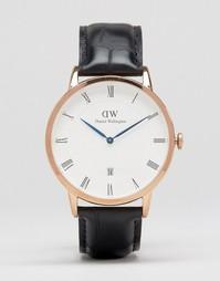 Часы цвета розового золота 38 мм с кожаным ремешком Daniel Wellington