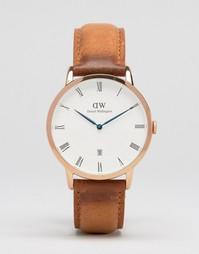 Часы цвета розового золота с корпусом 38 мм и кожаным ремешком Daniel