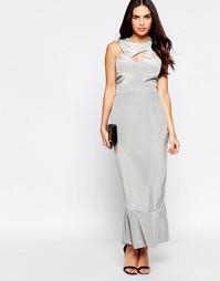 Платье с оборкой на подоле VLabel Ally - Серебряный