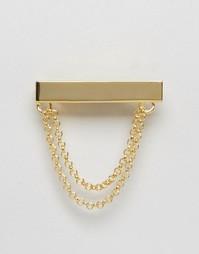 Золотистый зажим для галстука с цепочкой ASOS - Золотой