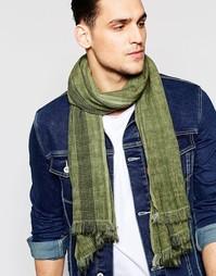 Легкий шарф с декоративной строчкой Esprit - Зеленый
