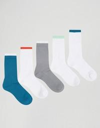 Набор из 5 пар носков в спортивном стиле с контрастным топом ASOS