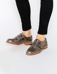 Кожаные туфли на плоской подошве ASOS MAJESTY - Серебряный