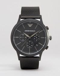 Черные часы с хронографом и сетчатым ремешком Emporio Armani AR2498