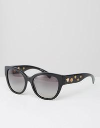 Солнцезащитные очки кошачий глаз с люверсами Versace - Черный
