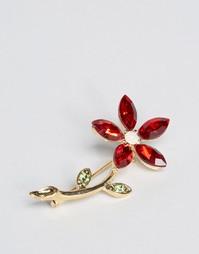 Брошь-цветок с камнями ASOS - Мульти