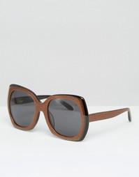 Квадратные солнцезащитные очки в стиле 70‑х ASOS - Bronze glitter Vow London