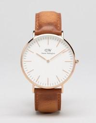 Часы цвета розового золота с корпусом 40 мм и кожаным ремешком Daniel