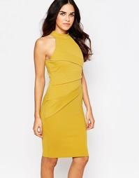 Платье-футляр с высоким воротом и складками Jessica Wright Sia
