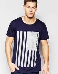 Темно-синяя футболка с флагом Hilfiger Denim - Черный ирис