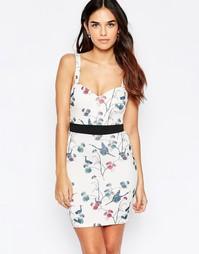 Платье мини с вырезом сердечком и принтом птиц Oh My Love