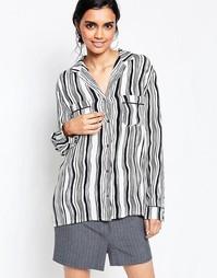 Креповая блузка в полоску Ganni Nairobi