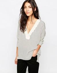 Шелковая блузка в полоску Gestuz Mie - Белый в тонкую полоску
