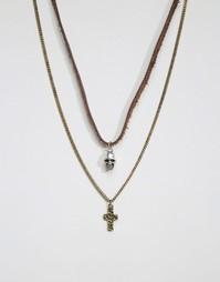 Набор ожерелий с черепом и крестом Icon Brand - Серебряный