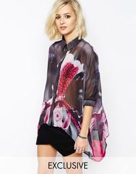 Прозрачная оversize-рубашка с цветочным принтом Religion - Мульти