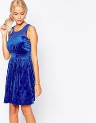 Короткое приталенное платье из бархата Jasmine - Синий