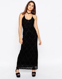Кружевное платье макси с флоковой отделкой Motel Alexandra