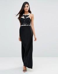 Платье макси с кружевным лифом AX Paris