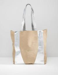 Кожаная сумка-шоппер цвета металлик Urbancode - Телесный металлик