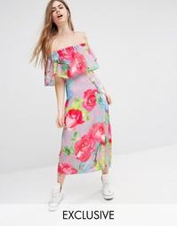 Платье миди с оборкой и цветочным принтом Every Cloud