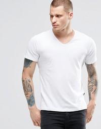 Белая футболка с V-образным вырезом и необработанными краями Replay