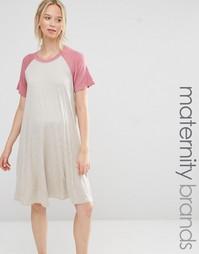 Платье-футболка с рукавами реглан для беременных Bluebelle Maternity