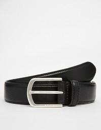 Кожаный ремень с декоративной строчкой Esprit - Черный