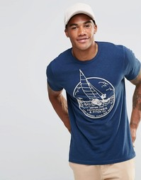Белая облегающая футболка с принтом Abercrombie - Темно-синий