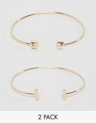 Набор из 2 разомкнутых браслетов Orelia - Бледно-золотистый