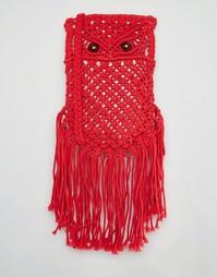 Красная сумка кроше через плечо Glamorous - Томатно-красный