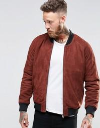 Замшевая куртка-пилот рыжего цвета ASOS - Красно-бурый