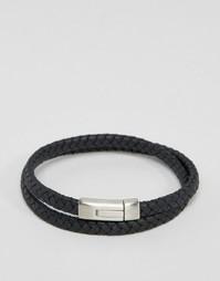 Черный кожаный браслет с логотипом Emporio Armani - Черный