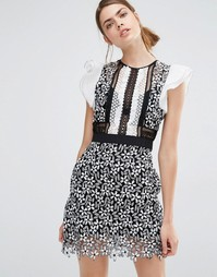 Кружевное платье мини с оборками на рукавах Self Portrait