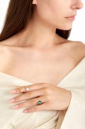 Позолоченное кольцо с малахитом и цитринами Moonka