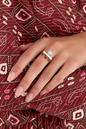 Позолоченное кольцо с агатом и родолитами Moonka