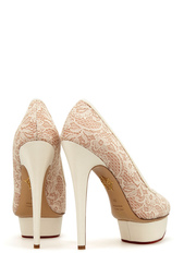 Белые Кружевные туфли Polly Charlotte Olympia