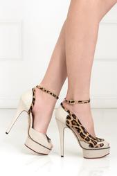 Разноцветные Туфли из кожи и льна Leopardess Charlotte Olympia
