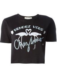 укороченная футболка с принтом фламинго Être Cécile