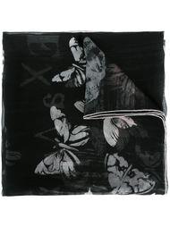 платок с узором в виде черепа и бабочек Alexander McQueen