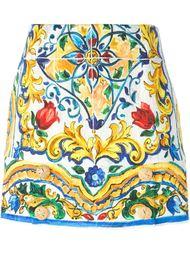 мини-юбка с принтом 'Majolica' Dolce & Gabbana