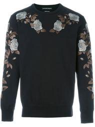 rose embroidered sweatshirt Alexander McQueen
