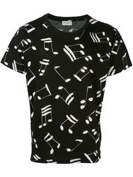 футболка с принтом музыкальных нот Saint Laurent