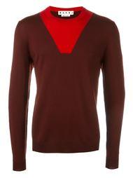 свитер с контрастным воротником   Marni