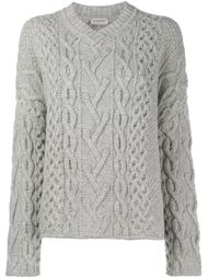cable knit v-neck jumper Lanvin