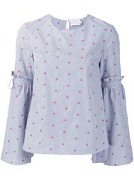 floral embroidery striped blouse Tanya Taylor