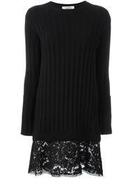 вязаное платье с кружевным подолом Valentino